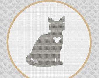 Cat Silhouette Cross Stitch PDF Pattern 1