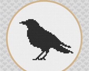 Crow Silhouette Cross Stitch PDF Pattern 1