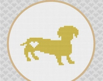 Daschund Silhouette Cross Stitch PDF Pattern
