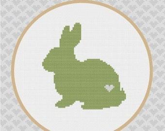 Rabbit Silhouette Cross Stitch PDF Pattern
