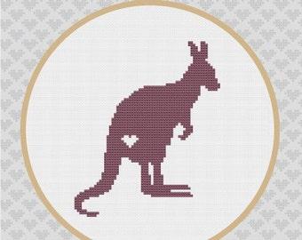 Kangaroo Silhouette Cross Stitch PDF Pattern
