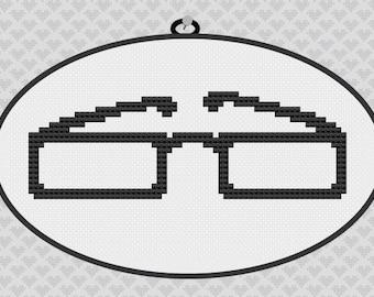 40% OFF code: CYBERMONDAY40- Classic Glasses Silhouette Cross Stitch PDF Pattern