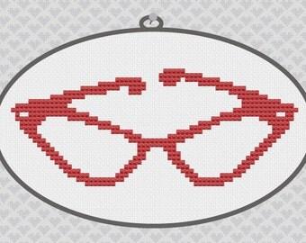 40% OFF code: CYBERMONDAY40- Vintage Cat Eye Glasses Silhouette Cross Stitch PDF Pattern