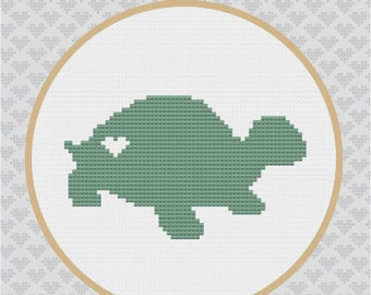Turtle Silhouette Cross Stitch PDF Pattern 2