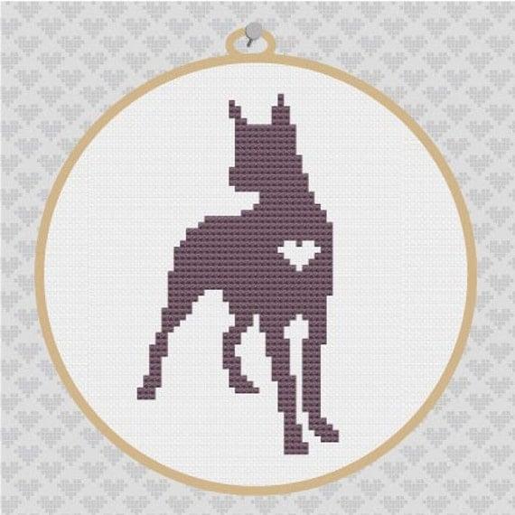 Great Dane Silhouette Cross Stitch Pattern