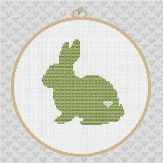 40% OFF code: CYBERMONDAY40- Rabbit Silhouette Cross Stitch PDF Pattern