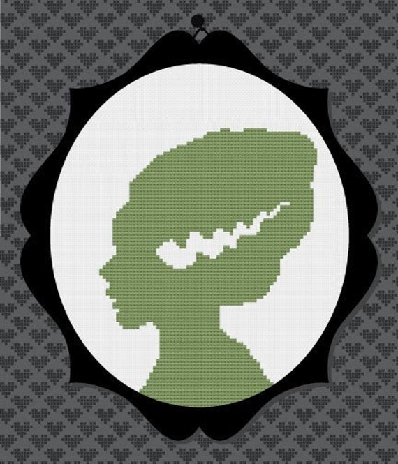 40% OFF code: CYBERMONDAY40- Bride of Frankenstein Silhouette Cross Stitch PDF Pattern