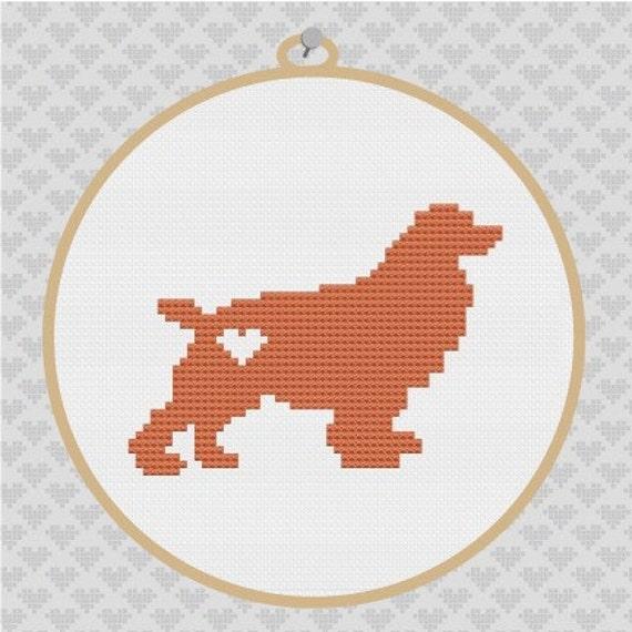 Spaniel Silhouette Cross Stitch Pattern