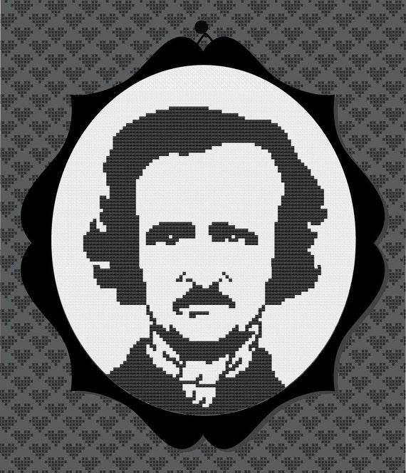 Edgar Allan Poe Silhouette Cross Stitch PDF Pattern