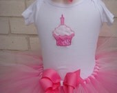 Pretty In Pink Birthday Cupcake Tutu Set Matching Small Boutique Bow, Embroidered Onsie, And Tutu