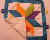Colorful Star Blanket with Ribbon Tags--Ready to Ship