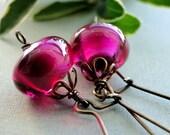 SALE Autumn, Deep Red, Earrings, Fancy Brass, Hoop Earrings, Red Czech Glass Earrings, Stunning Fuschia Colored Earrings
