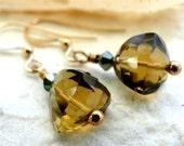 Gold Topaz Gemstone Earrings, Autumn, Gemstones, Topaz, Crystal Earrings, 14kt Gold Hoops, Runway Earrings