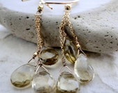 Champagne Faceted Quartz Earrings, Luxe Jewelry, 14kt Gold Plated Chain, 14kt Gold Plated Hoops, Gift for Her, Gemstone Earrings