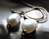 SPRING SALE Jewelry Freshwater Pearl, Leaf Earrings, Creamy White Real Pearls, Gift for Her