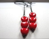 SHOP SALE - Dangle Earrings, Red Glass Heart Earrings, Gift for Her, Sexy