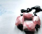 Spring Necklace, Gemstone Rhodochrosite Necklace, Gift for Her, on Black Chain with Lobster Clasp