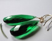 Jewelry Earrings, Emerald Quartz, 14k Gold Filled Hoops, Gemstone Earrings, Accessories, Gift Box