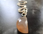 NEW - Necklace, Lucky Half Moon Peach Moonstone, Gemstone Necklace, Gift for Her, 14kt Gold Filled Cable Chain