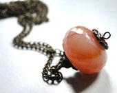 SPRING SALE Jewelry Necklace Orange Creamsicle Moonstone Necklace, Spring Collection, Gemstone Necklace