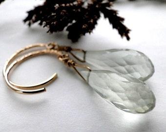 Women's Earrings Jewelry, Earrings, Dangle Earrings, Green Garnet Faceted Gemstone Earrings on 14k Gold Filled Hoops