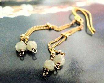 LAST CALL SALE Jewelry, Earrings, Gemstone Milky Sapphire, 14k Gold Fill, Earrings, Gold Sapphire Earrings