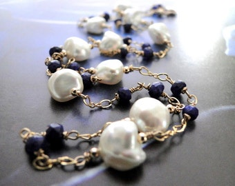 Statement Necklace 14k Gold Sapphire Pearl Anniversary Gift Genuine Sapphire Gemstone Necklace, AAA Freshwater Pearls, Luxe Modern Jewelry