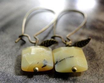 Jewelry Opal Earrings, Dangle Earrings, Earrings Butter Yellow Opal Gemstone Earrings, Golden Opal, Textured Leaves, Accessories