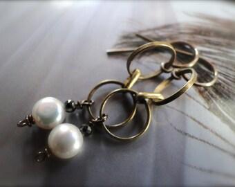 SALE Earrings, Dangle Earring, Freshwater Pearl Earrings Boho Jewelry Freshwater Pearl, Tanzanite Gemstone Earrings, Accessories, Gift Bo