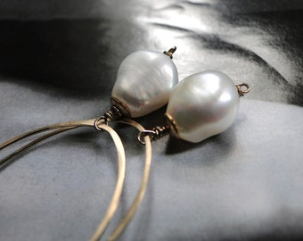 14k Gold Filled Earrings Jewelry Freshwater Pearl Earrings, 14kt Gold Hoops, Hand Forged, Gold Bead Cap, Gold Earrings, Creamy White Pearls