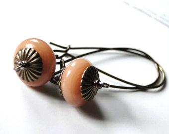 SALE Jewelry, Earrings, Dangle Earrings, Spring Retro Designed Earrings, Gift Peach Earrings, Brass Highlights, Gift for Her, Gift Box