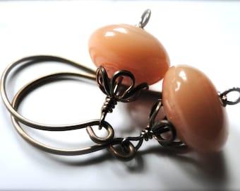 CRAZY SALE Peachy Earrings Jewelry Dangle Earrings, Peach Glass, Autumn Earrings, Gift for Her, Brass Fancy Hoops