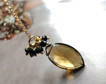 LAST CALL SALE Jewelry Necklace, 14k Gold Gemstone Necklace Statement Necklace, Gemstone Whiskey Quartz Necklace, Black Garnets