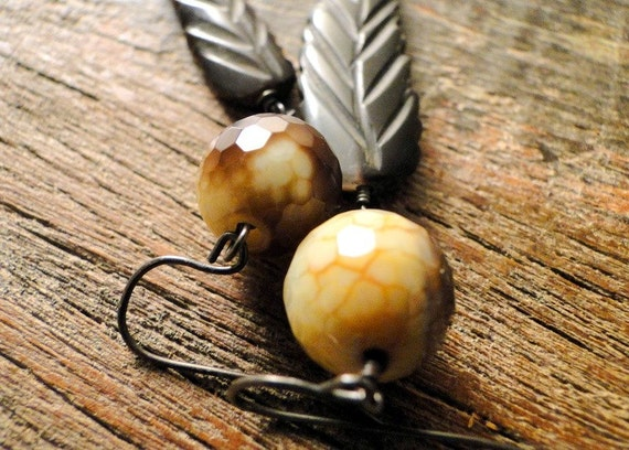 SALE - Wooden Leaf and Faceted Quartz Gemstone Drop Earrings