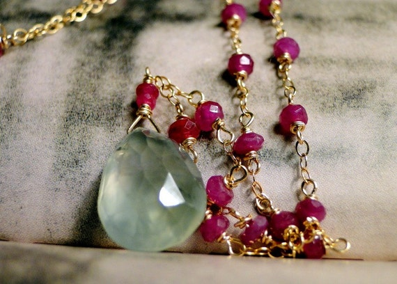 Jewelry, 14k Gold Filled Gemstone Necklace, Rubies, Soft Green Prehnite and Faceted Ruby 14k Gold Filled Chain, Holiday Gift