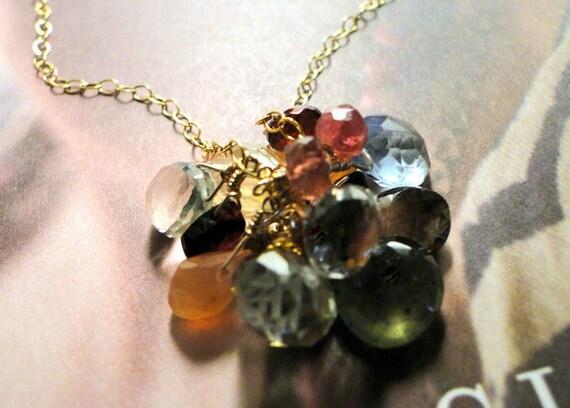 SALE Multiple Gemstone Necklace on 14kt Gold, Quartz, Gemstones, Garnet,Tourmaline, Citrine necklace Gift for Her