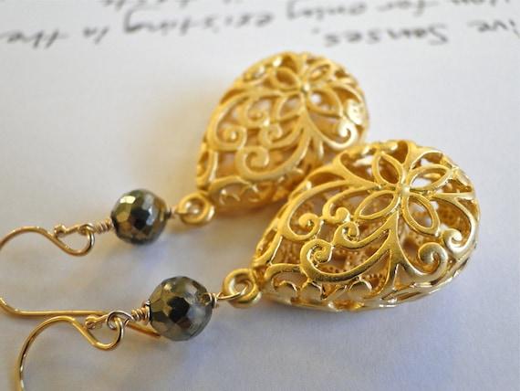 Earrings 16kt Gold Plated Matte Jewelry, Dangle Earrings, Gold, Faceted Pyrite Gemstones, Gemstone Earrings, 14k Gold Filled, Gift Box