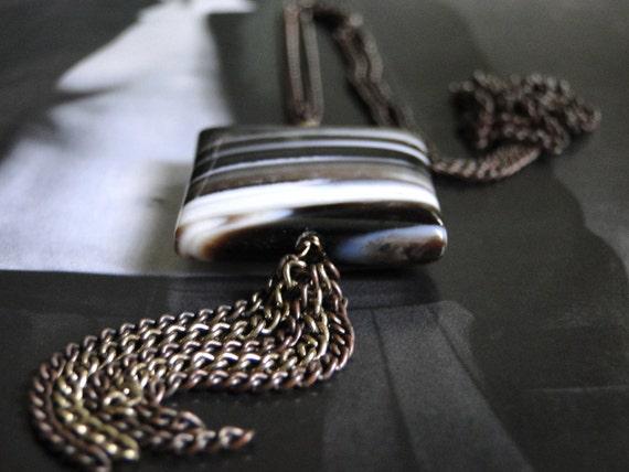 CRAZY SALE Jewelry, Necklace, Brown Agate Dangle Necklace, Agate Gemstone Necklace, Accessories, Gift Box