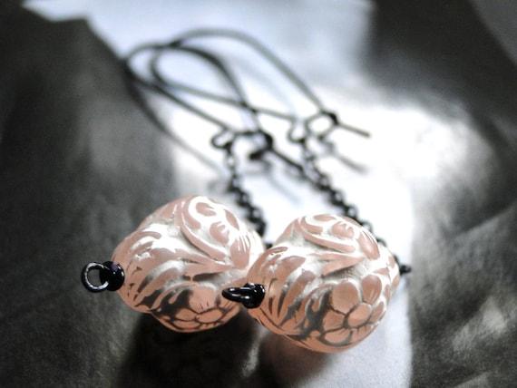 Jewelry, Mother's Day Earrings, Accessories, Sweet Pink and White Earrings, Vintage Glass Earrings, Cloud Earrings, Chic, Dangle Earrings