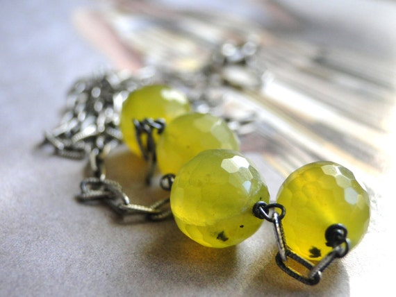 SALE - Olivine Faceted Jade Necklace, Neon Green, Jade, Necklace, Gift for Her, Sterling  Silver Necklace, Runway Color and Style