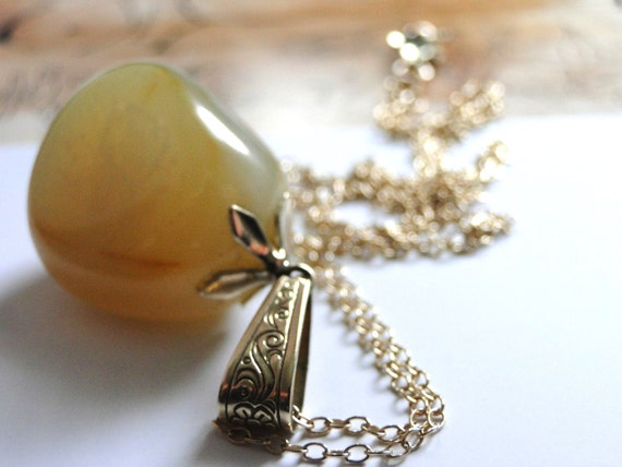 Necklace, Gorgeous 1910 European Art Nouveau Amulet Luck Talisman, Agate Gemstone Necklace, Gift for Her, Gold