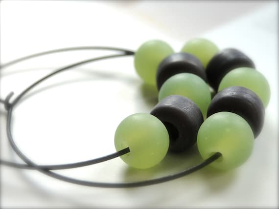 SALE Jewelry Earrings, Lime Green and Deep Purple Blown Glass