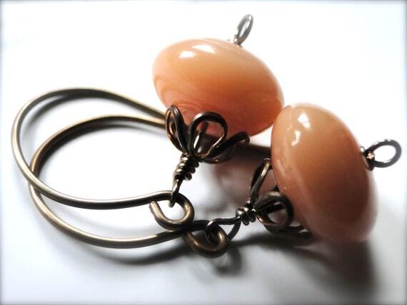 Peachy Earrings Jewelry Dangle Earrings, Peach Glass, Spring Earrings, Gift for Her, Brass Fancy Hoops