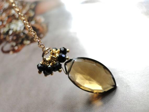 Jewelry Necklace, 14k Gold Gemstone Necklace Statement Necklace, Gemstone Whiskey Quartz Necklace, Black Garnets