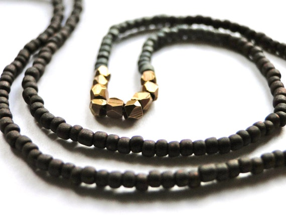 Necklace, Boho Chic, Layering Necklace, Beaded with Brass Necklace, Gift for Her, Hippie Chic
