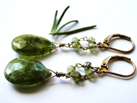 SALE Earrings, Prehnite Gemstone Earrings, Gift for Her, Spring Accessories, Mother's Day Gift