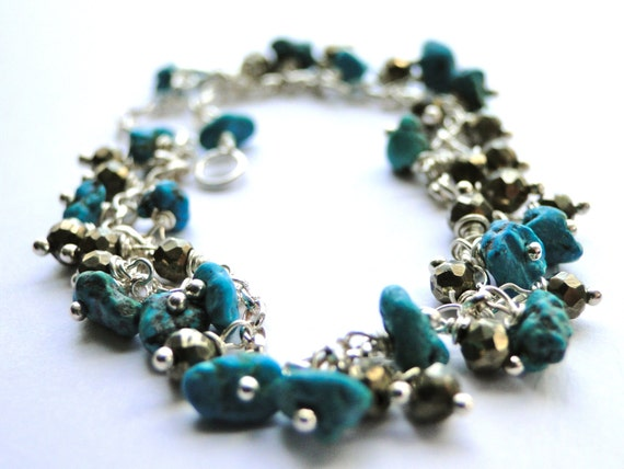 Autumn, Raw Turquoise, Pyrite Gemstone and Sterling Silver Bracelet, BOHO CHIC Jewelry, Gift for Her
