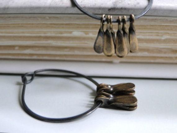 SALE Sterling Silver Jewelry, Statement Earrings Earrings, Retro Style, Autumn Accessories, Rustic, Boho Chic, Earthy Earrings