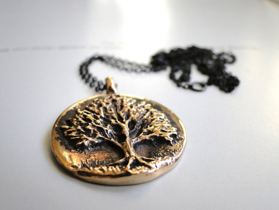 Jewelry Necklace, Bronze Tree of Knowledge, Sleek Black Chain, Gold Plated Bronze, Textured, Rustic, Knowledge Necklace