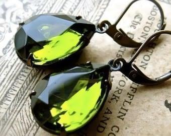 Tuscan Virgin Olive Oil Green Pear Shaped Estate Style GlassJewel Earrings